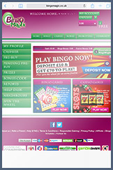 The mobile landing page at Bingo Magix