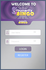 Login page on your phone for the Butterfly Bingo account