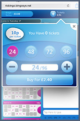 Buying tickets for a bingo game at Rio on mobile