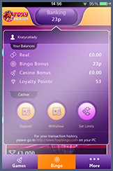 Deposit and Withdraw on the Foxy Bingo App