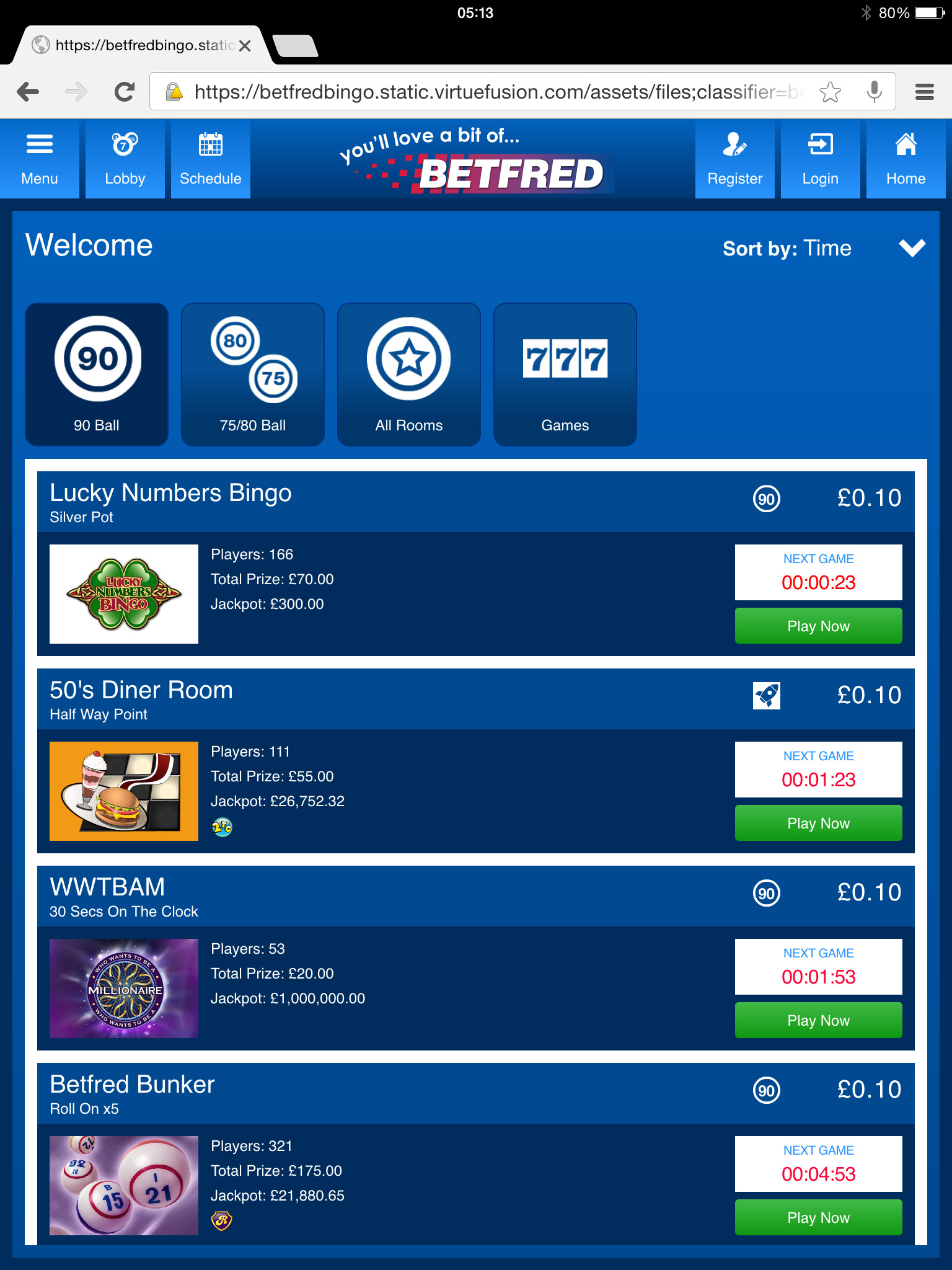 Betfred mobile games