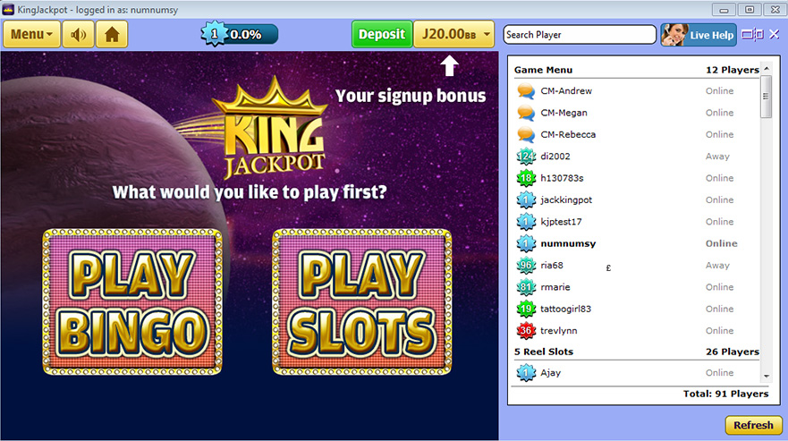 Jackpot casino mobile lobby