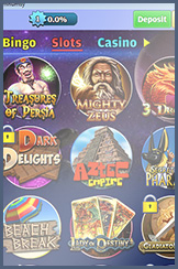 Slots offered at King Jackpot mobile bingo site